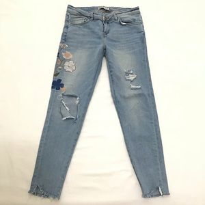Zara Floral Embroidered & Distressed Jeans